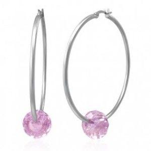Ocelové náušnice - velké kruhy stříbrné barvy s růžovým broušeným korálkem X09.10