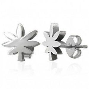Ocelové náušnice stříbrné barvy - list marihuany X09.05