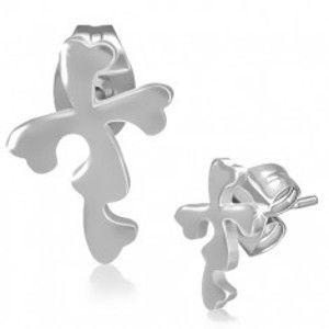 Ocelové náušnice - puzetky s květinovým křížem AA25.11