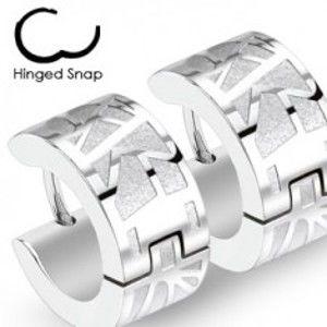 Ocelové náušnice - stříbrné kruhy s gravírovaným vzorem X44.18