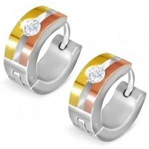 Ocelové náušnice - trojbarevné kruhy se štěrbinou a zirkonem AA26.12