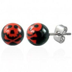 Ocelové náušnice, černé kuličky - červená lebka AB27.16