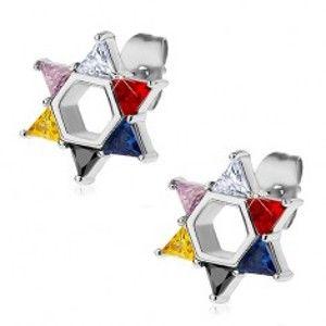 Ocelové náušnice, Davidova hvězda z barevných zirkonů X02.17