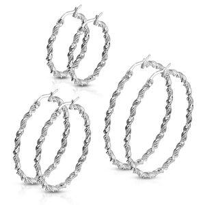 Ocelové náušnice - spirálovitě zatočená stuha a dvojitý řetízek, stříbrná barva - Průměr: 40 mm