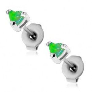 Ocelové náušnice stříbrné barvy, syntetická opálová srdíčka zelené barvy, 3 mm AC22.11