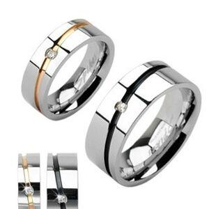 Ocelové snubní prsteny stříbrný, zlatý pruh, černý pruh se zirkonem - Velikost: 63