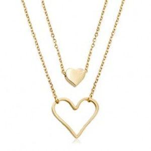 Ocelový náhrdelník zlaté barvy, malé plné srdíčko, velký obrys srdce, dva řetízky R01.11