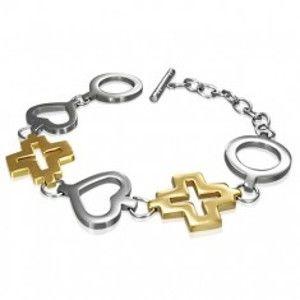 Ocelový náramek kruh, srdce a zlatý kříž O9.13