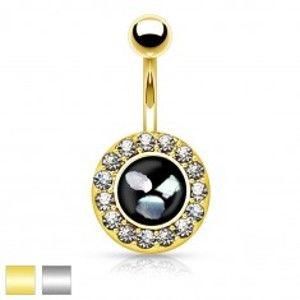 Ocelový piercing do bříška, černý kruh s kousky perleti, zirkonový lem AB32.16