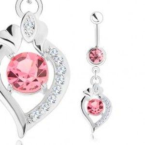 Ocelový piercing do bříška, stříbrná barva, růžové zirkony, obrys zrnka SP25.20
