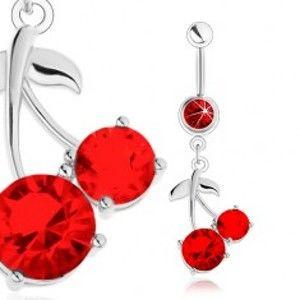 Ocelový piercing do bříška, stříbrný odstín, červené třešně, lesklé lístky SP24.16