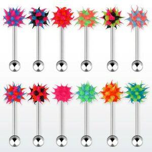 Ocelový piercing do jazyka, vícebarevná silikonová hlavička - ježek - Barva piercing: Černá - Zelená - Růžová
