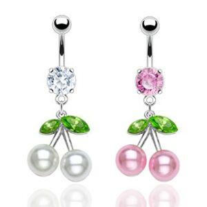 Ocelový piercing do pupíku, barevné třešně, perleťové kuličky, zirkony - Barva piercing: Růžová