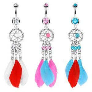 Ocelový piercing do pupíku, lapač snů s korálkem, tři zirkony a barevná pírka - Barva piercing: Aqua