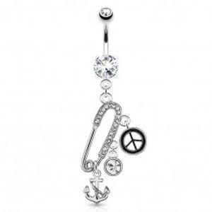 Ocelový piercing do pupíku - zavírací špendlík, kotva, znak míru, zirkony V14.31