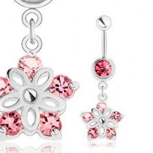 Ocelový piercing do pupíku, stříbrný odstín, blýskavý kvítek, růžové zirkony SP23.28