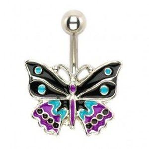 Ocelový piercing do pupíku, trojbarevný glazovaný motýl U17.17