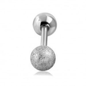 Ocelový piercing do tragu ucha - hladká a pískovaná kulička stříbrné barvy, 16 mm W24.30