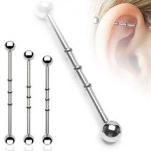 Ocelový piercing do ucha - čínka, vroubkované zářezy, kuličky I18.2