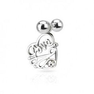 "Ocelový piercing do ucha - nápis ""Love"" v srdci s čirým zirkonem N23.35"