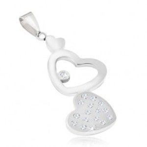 Ocelový přívěsek - hladké a zirkonové srdce, kontura srdce S53.14