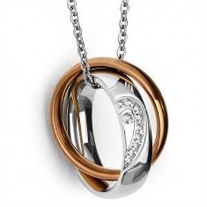 Ocelový přívěsek - prsten s polovinou srdce a zirkony, prsten měděné barvy SP91.03