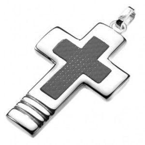 Ocelový přívěsek - široký kříž s karbonovým křížem uvnitř Y20.11