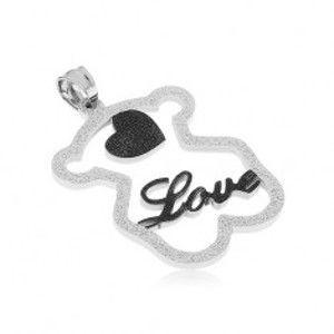 """Ocelový přívěsek - třpytivá silueta medvídka, černé srdíčko, nápis """"Love"""" SP41.06"""