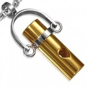 Ocelový přívěsek - zlatý váleček na závěsu, výřez srdce AA29.13