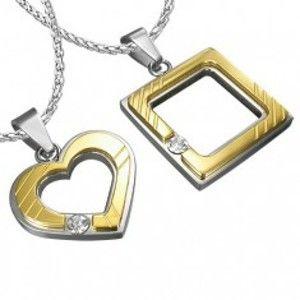 Ocelový přívěsek pro zamilované - čtverec, srdce, zirkon R2.4