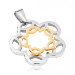 Ocelový přívěsek stříbrno-zlaté barvy, kontury květu S62.31