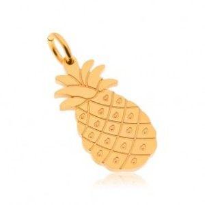 Ocelový přívěsek ve zlatém odstínu, lesklý ananas, gravírované detaily AA45.30