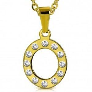Ocelový přívěsek ve zlatém odstínu, písmeno O vykládané čirými zirkony AA31.21