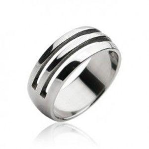 Ocelový prsten - dva vyřezané pruhy H17.1/2/3