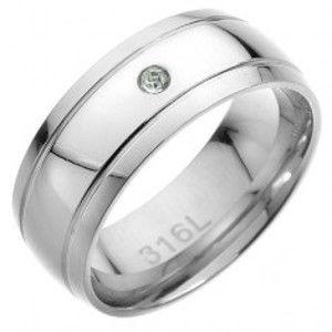 Ocelový prsten - dva rovnoběžné pásy, ve středu čirý zirkon C22.7