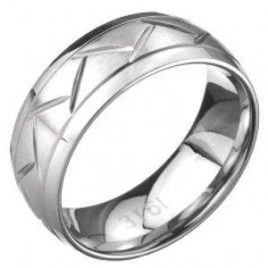 Ocelový prsten - dvě linie a cik-cak vzor, stříbrný povrch C26.9