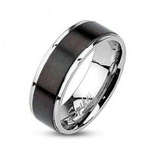 Ocelový prsten - obroučka s černým matným pásem, 6 mm  K08.02