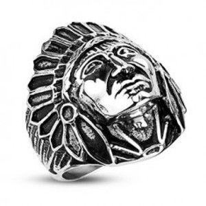 Ocelový prsten - indián Apač, černá patina F5.13/14