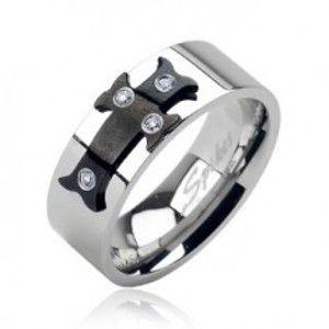 Ocelový prsten černý kříž, zirkony J4.9