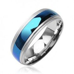 Ocelový prsten - modrý pruh uprostřed D10.9