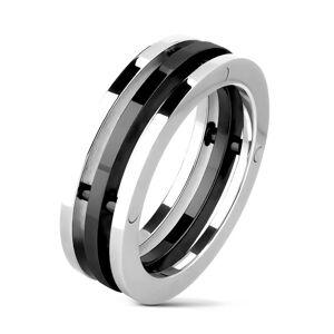 Ocelový prsten - oddělené obruče dvou barev - Velikost: 69