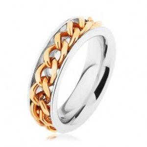 Ocelový prsten, řetízek zlaté barvy, zrcadlový lesk HH9.6