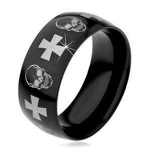 Ocelový prsten s černým povrchem, lebky a kříže stříbrné barvy, 9 mm - Velikost: 59