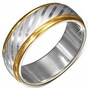 Ocelový prsten se zlatými okraji a saténovými diagonálními pásy BB7.3