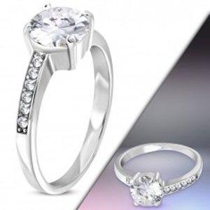 Ocelový prsten stříbrné barvy s asymetrickými rameny a čirými zirkony M11.17