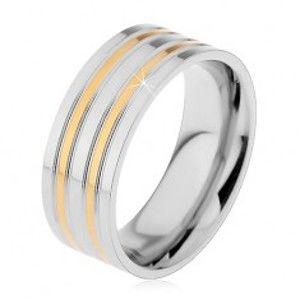 Ocelový prsten stříbrné barvy s vyvýšenými pásy ve zlatém odstínu, 8 mm H7.06