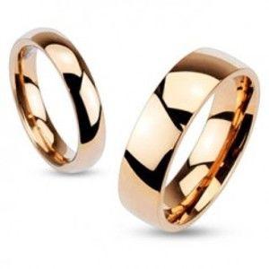 Ocelový prsten v měděném odstínu, vypouklá lesklá ramena, 3 mm HH17.2