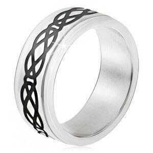 Ocelový prsten, vyvýšený pás, motiv slz a kosočtverců, tlusté linie - Velikost: 59