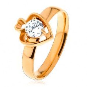 Ocelový prsten zlaté barvy, dva obrysy srdcí a kulatý čirý zirkon S20.28