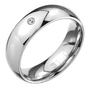 Ocelový prsten - zrcadlově lesklý oblý povrch, čirý zirkonek - Velikost: 67